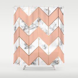 LUXE ROSE GOLD VECTOR ON BLACK AND WHITE MARBLE Shower Curtain