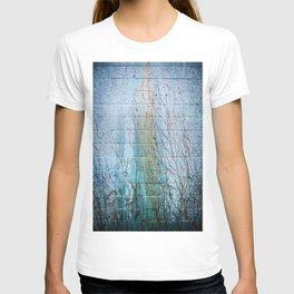 Blue wall brown vines T-shirt
