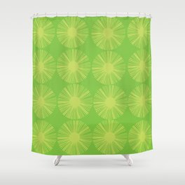 Retro Spectrum Green Shower Curtain