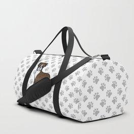 Cute Brindle Boxer Dog Cartoon Illustration Duffle Bag