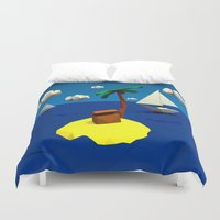low poly Duvet Covers featuring Low-Poly Treasure Island by Jorge Antunes