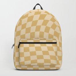 Check III - Mustard Twist — Checkerboard Print Backpack