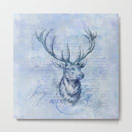 Joy to the world Christmas deer Metal Print