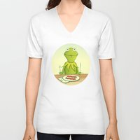 kermit V-neck T-shirts featuring Kermit Loves Facon by dellydel