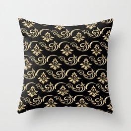 Golden Baroque Pattern Throw Pillow