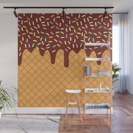 waffles with flowing chocolate sauce and sprinkles Wall Mural