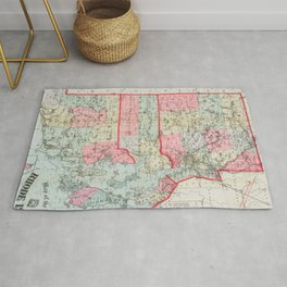 Vintage Map of Rhode Island (1887) Rug