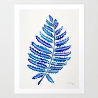 Fern Leaf – Navy Palette Art Print
