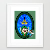 gravity falls Framed Art Prints featuring Gravity Falls: Hyrule Falls by Macaluso