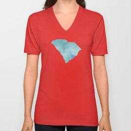 Watercolor State Map - South Carolina SC blue greens Unisex V-Neck