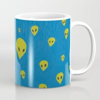 aliens Mugs featuring aliens by demii whiffin
