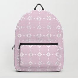 White flowers stitches on pink Backpack