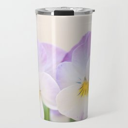 Spring Love #1 - Soft violet-white Pansies #decor #art #society6 Travel Mug