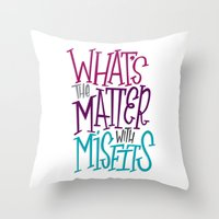 misfits Throw Pillows featuring Misfits by Chelsea Herrick