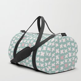 Contemporary X Paint Cross stich Mint Pink Pattern Duffle Bag