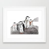 penguins Framed Art Prints featuring Penguins by Jamie Mitchell