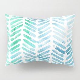 Handpainted Chevron pattern - light green and aqua - stripes Pillow Sham