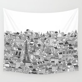 Paris (black and white version) Wall Tapestry