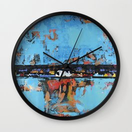 Stallion Blue Modern Painting Abstract Art Landscape Wall Clock