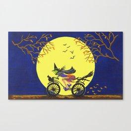 Broken Broom Halloween art print Canvas Print