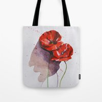 poppies Tote Bags featuring Poppies by Alina Rubanenko