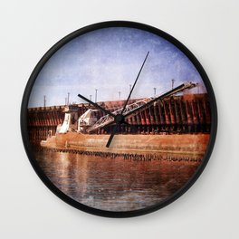 Vintage Great Lakes Freighter Wall Clock