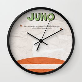 Juno - Alternative Movie Poster, classic movie, funny movie, minimal movie poster Wall Clock