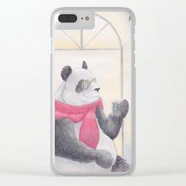 Panda Cafe Clear iPhone Case