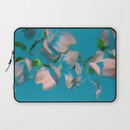 Dogwood Tree Flowers (aqua background) Laptop Sleeve