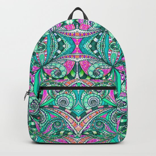 Drawing Floral Zentangle G207 Backpack