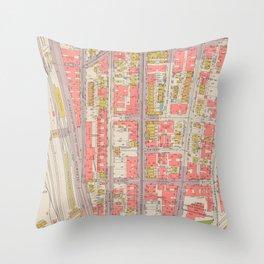 Borough of the Bronx Vintage Map 1 Throw Pillow