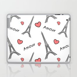 black and white eiffel tower with red hearts cute romantic pattern Laptop & iPad Skin