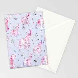 Cute Pastel Tone Elephants Stars Pattern Stationery Cards