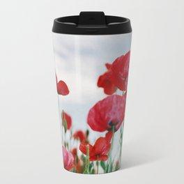 Field of Poppies Against Grey Sky Travel Mug