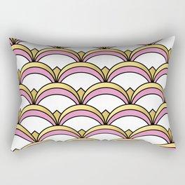 Pink and Gold Art Deco Pattern Rectangular Pillow