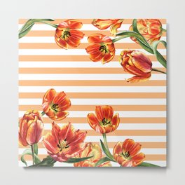 Red Yellow Tulips Stripes Chic Peach Metal Print