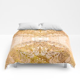 Bees Golden Mandala and Peach Comforters