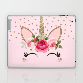 Pink & Gold Floral Unicorn Face Laptop & iPad Skin