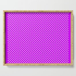 Tiny Paw Prints Pattern - Bright Magenta and White Serving Tray