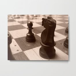 Knight and Pawn Metal Print