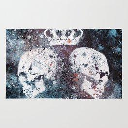 Black Queendom (spray paint graffiti art, crown with skulls) Rug