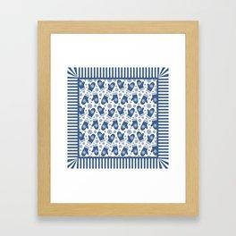 Wintery Blue Snowflake Mittens Framed Art Print