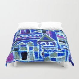 purple abstract city Duvet Cover