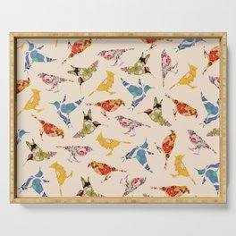 Vintage Wallpaper Birds Serving Tray