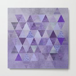 Glamorous Purple Faux Glitter And Foil Triangles Metal Print