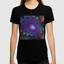 Fractal Abstract Flower, Colorful And Luminous T-shirt