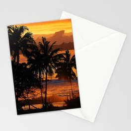 Sunset palms in blue tones Stationery Cards