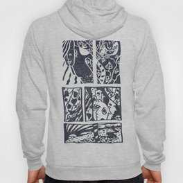 Field walk among birds and leaves (spring and summer ghost) Hoody
