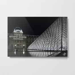 Louvre at night - landscape Metal Print