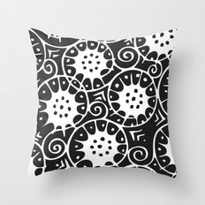 Black and White Swirl Pattern Throw Pillow